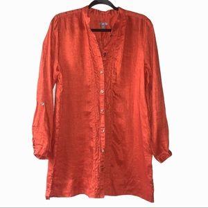 J. Jill 100% linen 3/4 sleeve v neck tunic blouse.